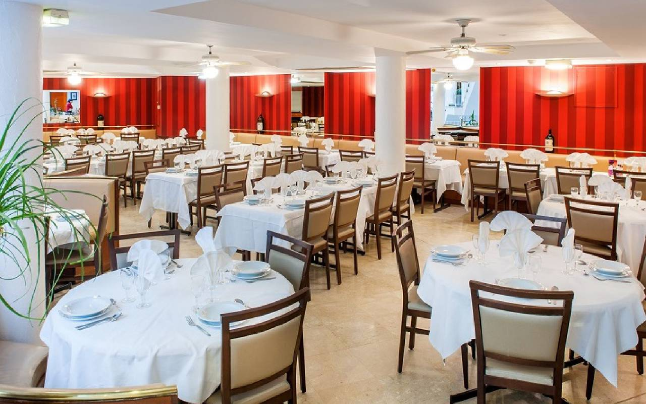 View on the restaurant room of Hotel Saint Sauveur, Lourdes hotel, Hotels Vinuales